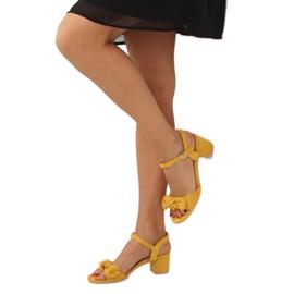 Sandałki na obcasie żółte FH-3M22 Yellow 3