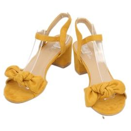 Sandałki na obcasie żółte FH-3M22 Yellow 2