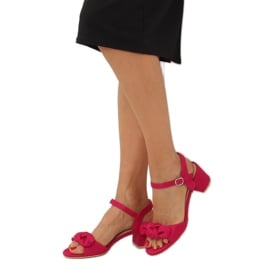 Sandałki na obcasie fuksjowe FH-3M22 Fuchsia różowe 3
