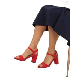 Sandałki na słupku czerwone FH-3M25 Red 3