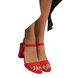 Sandałki na słupku czerwone FH-3M25 Red 2