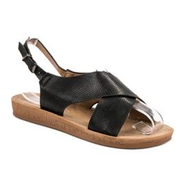 SHELOVET Wygodne Sandały czarne 1