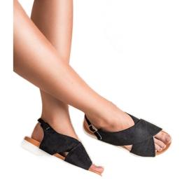 Primavera Zamszowe Zabudowane Sandały czarne 5