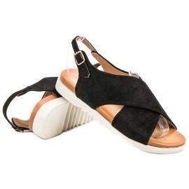 Primavera Zamszowe Zabudowane Sandały czarne 1