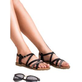 Bestelle Czarne Sandały Damskie 4