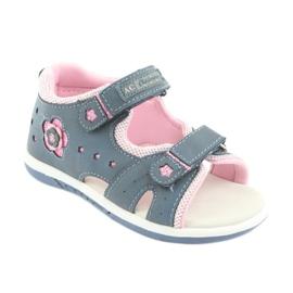 Sandałki dziewczęce American Club DR20 denim niebieskie różowe 1