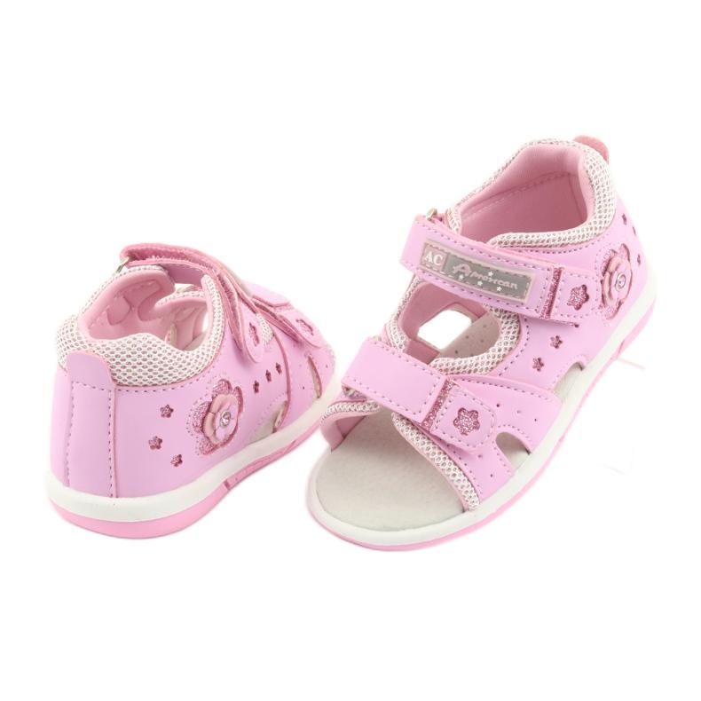 Sandałki dziewczęce American Club DR20 różowe zdjęcie 4