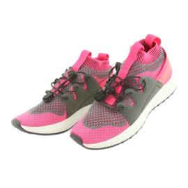 Befado obuwie dziecięce 516X030 pomarańczowe różowe szare 3