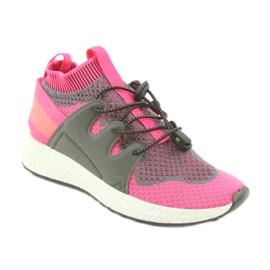 Befado obuwie dziecięce 516X030 pomarańczowe różowe szare 1