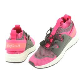 Befado obuwie dziecięce 516X030 pomarańczowe różowe szare 4