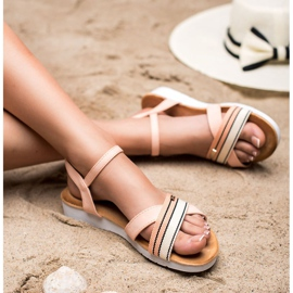 Bello Star Sandały Zapinane Sprzączką różowe 5