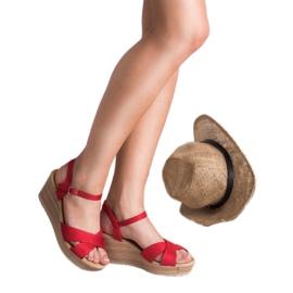 Best Shoes Lekkie Zamszowe Sandały czerwone 2