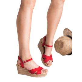 Best Shoes Lekkie Zamszowe Sandały czerwone 1