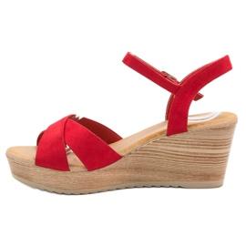 Best Shoes Lekkie Zamszowe Sandały czerwone 3