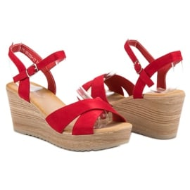 Best Shoes Lekkie Zamszowe Sandały czerwone 4