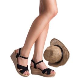 Best Shoes Lekkie Zamszowe Sandały czarne 3