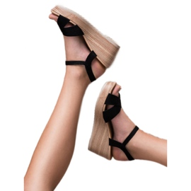 Best Shoes Lekkie Zamszowe Sandały czarne 2