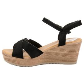 Best Shoes Lekkie Zamszowe Sandały czarne 5
