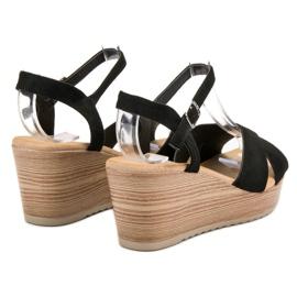Best Shoes Lekkie Zamszowe Sandały czarne 1