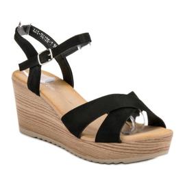 Best Shoes Lekkie Zamszowe Sandały czarne 4