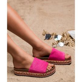 Jumex Zdobione Klapki Na Platformie różowe 3