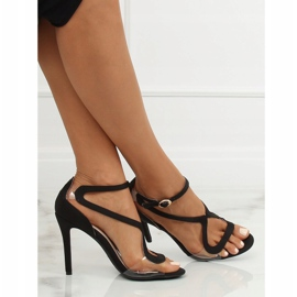 Sandałki na szpilce czarne 1442 Black 2
