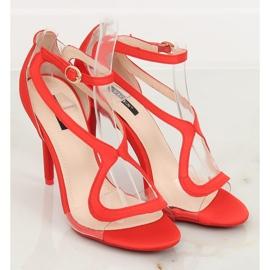 Sandałki na szpilce czerwone 1442 Red 4