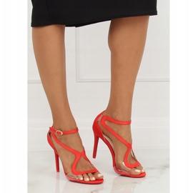 Sandałki na szpilce czerwone 1442 Red 2
