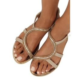 Sandałki asymetryczne beżowe GD4157 Beige brązowe 2
