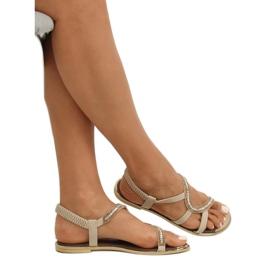 Sandałki asymetryczne beżowe GD4157 Beige brązowe 3