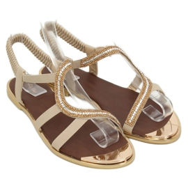 Sandałki asymetryczne beżowe GD4157 Beige brązowe 1