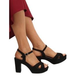 Sandałki na platformie czarne JC15017 Black 1