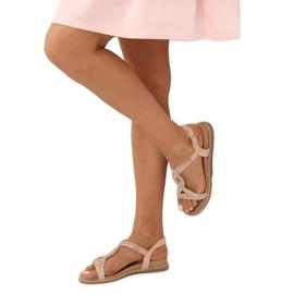 Sandałki zdobione różowe LC-802 Pink 2