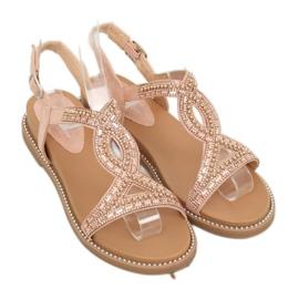 Sandałki zdobione różowe LC-802 Pink 1