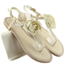 Sandałki japonki z kwiatem beżowe T314P Beige brązowe 5