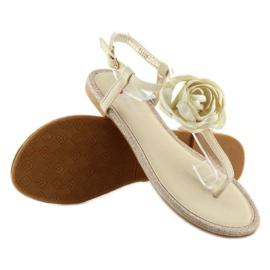 Sandałki japonki z kwiatem beżowe T314P Beige brązowe 2