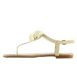 Sandałki japonki z kwiatem beżowe T314P Beige brązowe 6