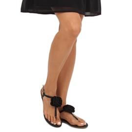 Sandałki japonki z kwiatem czarne T314P Black 1