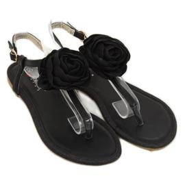 Sandałki japonki z kwiatem czarne T314P Black 3