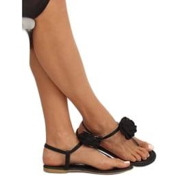 Sandałki japonki z kwiatem czarne T314P Black 2