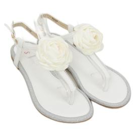Sandałki japonki z kwiatem białe T314P White 3