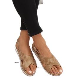 Sandałki damskie beżowe 1495 D.BEIGE brązowe 2