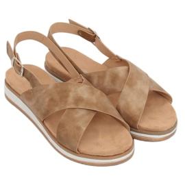 Sandałki damskie beżowe 1495 D.BEIGE brązowe 1