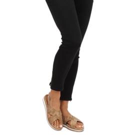 Sandałki damskie beżowe 1495 D.BEIGE brązowe 3