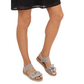 Sandałki damskie z kokardą szare F3055 Grey 1