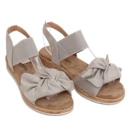 Sandałki damskie z kokardą szare F3055 Grey 3