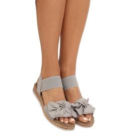 Sandałki damskie z kokardą szare F3055 Grey 2