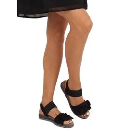 Sandałki damskie z kokardą czarne F3055 Black 2