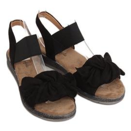 Sandałki damskie z kokardą czarne F3055 Black 3