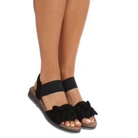 Sandałki damskie z kokardą czarne F3055 Black 1